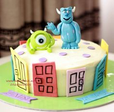 Monster inc cake - with edible characters, gluten free!!