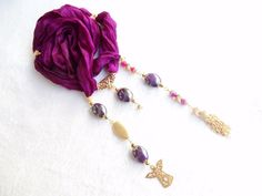 Purple Jewelry Scarf Turkish Silk by sevinchjewelry on Etsy, $62.00