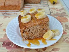 Caramel Banana Cake ~ No frosting needed as this Cake is very moist and served {warm or cold} with fresh Banana and Caramel sauce ~ AND it all starts with a Cake Mix ! #BananaCake #Cake www.withablast.net