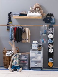 Storage solutions: Create your own makeshift cupboard with boxes and trolleys that are more appropriate for your toddler's or baby's clothing