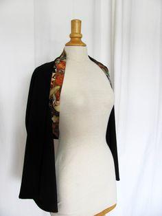 Boléro kimono en crêpe et coton japonais, carpe koï, feuilles et fleurs S/M