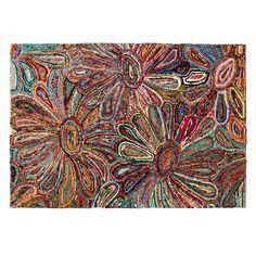 SARI RUG   Floral Rug, Recycled Sari   $150