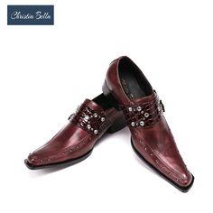 7554543e3a Christia Bella Homens Se Vestem Sapatos de Couro Genuíno Italiano Sapatos  Formal Homens Oxfords Negócios Homens Monge Tira Sapatos de Casamento Plus  Size