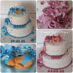 Emmas KakeDesign: Nydelig dåpskake med baby og blomster