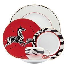 Scalamandre by Lenox Zebras Bone China Dinnerware - Scalamandre's iconic zebra-inspired designs on bone china stand out in bold black and white against dramatic red details. 5-Piece Place Setting  165