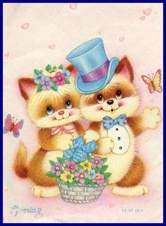 Vintage Cards, Vintage Postcards, Retro Vintage, Cartoon Pics, Cute Cartoon, Cute Images, Cute Pictures, Baby Animals, Cute Animals