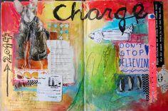 artistjournals:  Charge (Art Journal Spread) mypeacetree