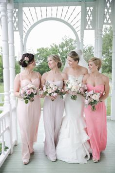 #pink #bridesmaids in Amsale | Photography by carolinejoy.com, Design and Florals by http://thenouveauromantics.com Read more - http://www.stylemepretty.com/2013/08/13/austin-wedding-from-the-nouveau-romantics-caroline-joy-photography/
