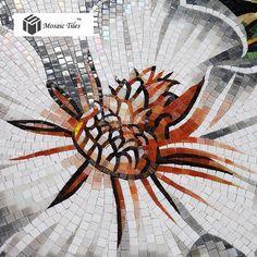 Floral mosaic Bisazza hand made backsplash wall entrance glass tile deco white black bath living room mosaic art parquet tile