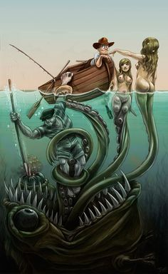 Find images and videos about sea, mermaid and monster on We Heart It - the app to get lost in what you love. Fantasy Creatures, Mythical Creatures, Sea Creatures, Comic Kunst, Comic Art, Comic Book, Fantasy Kunst, Fantasy Art, Dcc Rpg