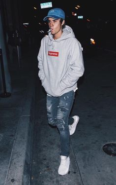 c2d7320269 Image result for supreme justin bieber Grey Supreme Hoodie, Supreme Box  Logo Hoodie, Grey