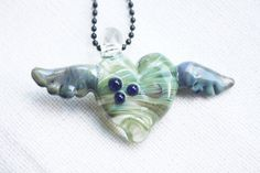Mothers Day Jewelry Necklace Pendant  Heart wings by naturwrk, $24.00