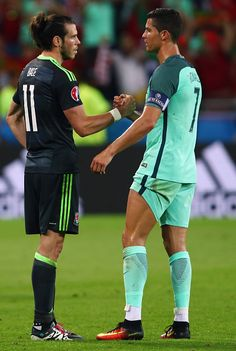 Gareth Bale of Wales and Cristiano Ronaldo of Portugal shake hands after the UEFA EURO 2016 semi final match between Portugal and Wales at Stade des.