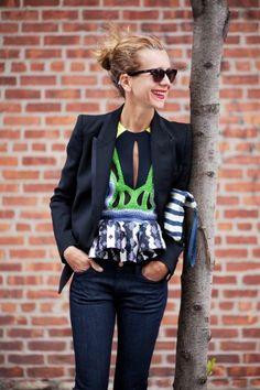 I dig this whole outfit.  I especially love the Peter Pilotto top.