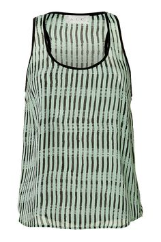 "A stylish choice for summer in the city, this stripey print ""Ports"" tank from A.L.C. features a painted-like black print and cool mint coloring."