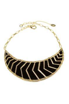 18k gold plated black enamel geometric panel crescent-shaped bib necklace