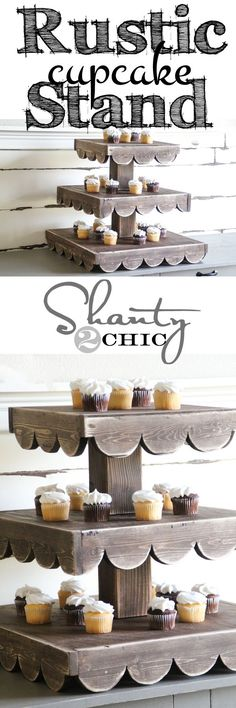 Love this Rustic Cupcake Stand! Build it with Free Printable Plans! Perfect for holiday entertaining!