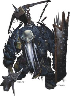 Urgraz; Deurgar Anti-Paladin. Iconic character illustration from the cover art of Pathfinder RPG Adventure Path #107 - Scourge of the Godclaw by Wayne Reynolds