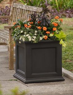Fairfield Square Planter-for front porch? Fairfield Square Planter-for front porch? Decorative Planters, Wooden Planters, Front Porch Planters, Outdoor Projects, Outdoor Decor, Square Planters, Self Watering Planter, Flower Boxes, Garden Supplies