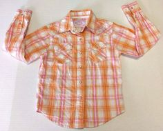 Cowgirl Hardware Girls Orange Pink Striped Bling Western Snap Button Shirt Small #CowgirlHardware #DressyEveryday