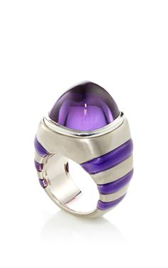 Sabbadini ~ White gold ring with  luxurious silver features a contemporary design of amethyst and pink tourmaline.