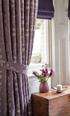 Contrast patterned curtains with deep colour blinds! Lounge Curtains, Window Drapes, Curtains With Blinds, Lilac Color, Purple Lilac, Curtain World, Blackout Roman Blinds, Purple Interior, Curtain Patterns