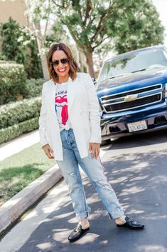 Blazer Jeans Graphic Tee Gucci Loafers
