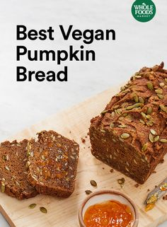 This will be your new favorite pumpkin bread recipe. It's just sweet enough, delicious and vegan — what's not to love? Pumpkin Recipes, Fall Recipes, Whole Food Recipes, Vegan Recipes, Cooking Recipes, Vegan Foods, Vegan Dishes, Vegan Desserts, Fall Desserts