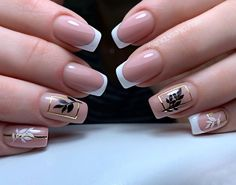 Romantic Nails, Elegant Nails, Classy Nails, Simple Nails, Trendy Nails, French Acrylic Nails, Cute Acrylic Nails, Square Nail Designs, Nail Art Designs
