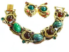 Fabulous Vintage Griffin Cabochon Rhinestone Bracelet and Earrings