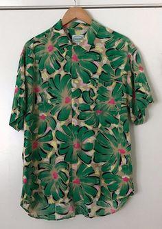 Jams World Large Hawaiian Shirt Green Floral Print 100% Rayon