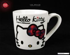 Hello Kitty Checker Ribbon Porcelain Mug
