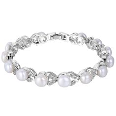 EVER FAITH© Silver-Tone Cubic Zirconia Cream Simulated Pearl Elegant Dual Leaves Tennis Bracelet Clear -- Find out more details by clicking the image : trend jewelry 2016