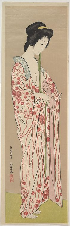 "vintage geisha art: ""Woman Dressing"" by artist Hashiguchi Goyô, ca Japan. Ukiyo-e Polychrome woodblock print; ink and color on paper (via The Kimono Gallery) Art And Illustration, Botanical Illustration, Art Occidental, Art Asiatique, Japanese Painting, Chinese Painting, Art Graphique, Japanese Prints, Japan Art"