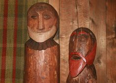 Contemporary Odin & Thor carvings - Lofotr Viking Museum - Bostad, Norway