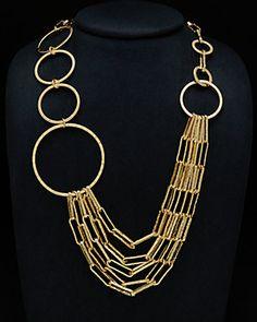 1AR by UnoAerre 18K Plated Chain Statement Necklace