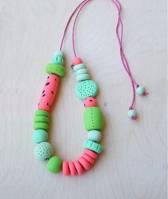 Handmade Textured Fancy Necklace in Watermelon Pop by enaandalbert