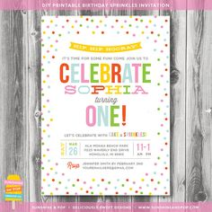 Printable Sprinkles Birthday Invitation - Sprinkle with Love - First Birthday Confetti Party DIY Invite Baby Shower Baby Sprinkle on Etsy, $14.00
