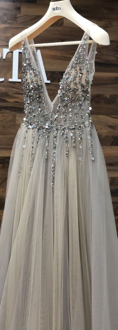 Fashion Feminine Grey See Through Plunge V neck Tulle Prom Dress - Long prom dresses Grey Prom Dress, Beaded Prom Dress, Backless Prom Dresses, Prom Dresses Online, Pageant Dresses, Dresses For Teens, Dance Dresses, Dress Long, Long Dresses