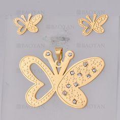 juego colgante y aretes de mariposa brillante en acero dorado inoxidable -SSSTG384770