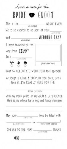 Wedding Advice Card, Wedding Mad Libs, DIY Printable, Marriage Advice, Reception Table Card, - Marr #weddingplanningfunny