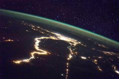Horizon of Earth & Egypt at night