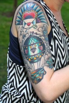 35 Poetic Hot Air Balloon Tattoos