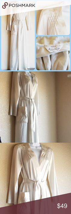 Vintage 60's full length summer robe Full length, ivory nylon vintage robe by Kayser.   Inside tie, snap front closure with belt included. Smocking details on front pocket and shoulders.  Small floral detail on both shoulders.   Wonderful vintage condition.  No holes, stains or yellowing. Size M Vintage Intimates & Sleepwear Robes