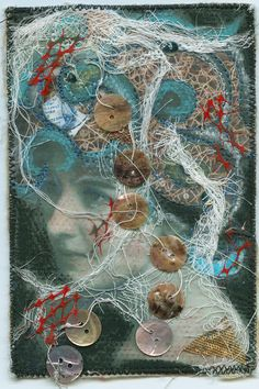 B Movie Heroine, Art Card, Textile Art.