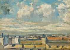 Eliseo Meifrén Roig. Vista de Barcelona, con la montaña de Montjuich al fondo. Óleo sobre cartón. Firmado. 23 x 32 cm. Exposición Valencia, p. 173.