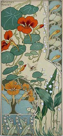 Riom Nasturtiums & Lily of the Valley from Etude de Fleurs - art nouveau flowers Flores Art Nouveau, Art Nouveau Flowers, Art And Illustration, Illustrations, Design Art Nouveau, Art Design, Art Nouveau Pattern, Interior Design, Art Amour