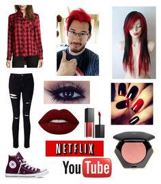 """Markiplier Outfit #2"" by cielphantomhivekuroshitsuji on Polyvore featuring Wyatt, Miss Selfridge, Converse, H&M, Lime Crime and Smashbox"