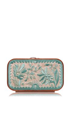 Shop Floral Brocade Embroidered In Cream & Turquoise. This clutch by **Katrin Langer** features a floral brocade embroidered body and finished with a wooden frame. Ss 15, Evening Bags, Handbag Accessories, Summer 2015, Spring Summer, Zip Around Wallet, Clutch Handbags, Turquoise, Purses