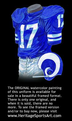 Los Angeles Rams 1972 uniform artwork. Nfl RamsSt Louis RamsVintage FootballAmerican  ... cd4634a00